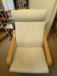 ikea poang rocking chair, cream leather cushion, excellent condition.