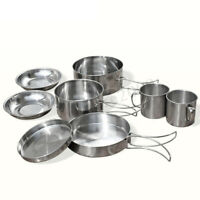 8 Pcs Stainless Steel Camping Cookware Cooking Picnic Bowl Pot Pan Set   ! ❤