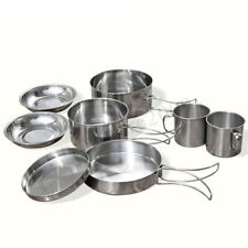 9 Pcs Stainless Steel Camping Cookware Cooking Picnic Bowl Pot Pan Set