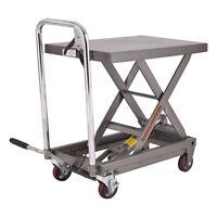 Rolling Table Cart 500LB Capacity Hydraulic Cart W/Foot Pump Dolly Heavy Duty
