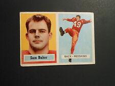 1957 TOPPS FOOTBALL CARD  #72 SAM BAKER    WASHINGTON REDSKINS