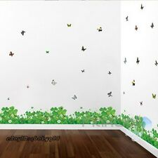Large Clover Butterfly Wall Border decals Removable Window Stickers kids decor