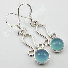 "925 Sterling Silver FASHIONABLE Gift Earrings 1.5"", AQUA CHALCEDONY Jewelry"