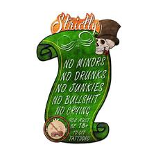 """Tattoo Shop Humorous Funny Strictly No Garage Steel Sign 20"""" x 30"""""""
