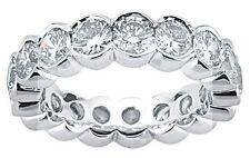 Platinum Band 4.01 ct Round DIAMOND Eternity Ring Half Bezel 16 x 0.25 ct size 5