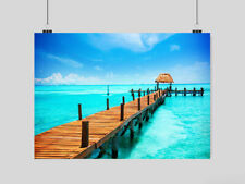 PIER PARADISE POSTER SEA BLUE CLEAR WATER SUN HOLIDAY BEACH A3 A4 SIZE