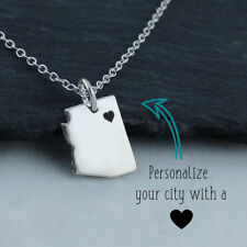 Personalized Arizona State Necklace Engraved Heart Near Your City 925 Sterling