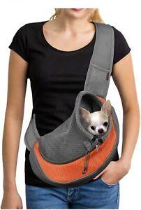 YUDODO Reflective Pet Dog Sling Carrier Breathable Mesh Travel Safe Medium Orang