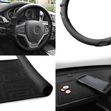 Silicone Steering wheel cover Grip Marks w/ Black Dash Mat Black for Auto