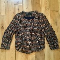 Zara Brown Tweed Wool Mix Boucle Zip Up Biker Jacket Small  8-10