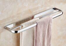 Polished Chrome Brass Wall Mounted Bathroom Double Towel Bar Rack Holder fba832