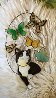 """Vintage Cat Butterfly Window Hanging Sun Catcher Wire Stained Glass Art 10"""""""