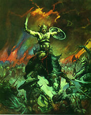 "FRANK FRAZETTA Fantasy Art Prints Canvas Textured Finish ""The Berserker"".1.4"
