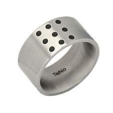 TeNo Ring Gr. 19/60 YuMa Edelstahlring 9 schwarze Keramikeinlagen Schmuck