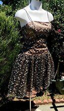 CINDERELLA DESIGN Black Gold Lace Fancy Party Dress Tulle Prom Cocktail Sz Med