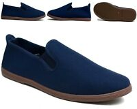 Mens New Canvas Comfy Flat Navy Casual Shoes UK Sizes 6-12