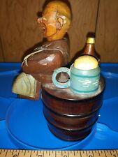 Vintage Anri Hand Carved Monk Barrel Corkscrew Cap Lifter Bottle Stopper Beer