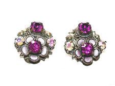 Beautiful Antique Aurora Borealis Stones & Pink Tourmaline Crystal Clip Earrings