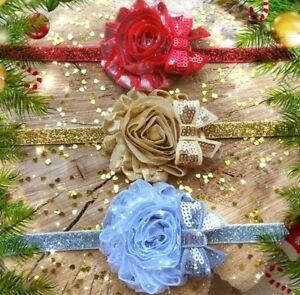 Christmas Xmas Baby Girl Headband Hairband Red Silver Gold Glitter Shabby Flower