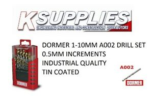 Dormer A002 1-10mm Drill Set  hss Tin coated 19pc     ***Next Day Delivery****