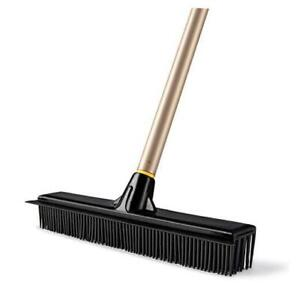 Rubber Broom Pet Hair Fur Removal Broom Soft Bristle Push Broom with Squeegee