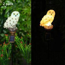 Set of 2 Solar Lighted Lifelike White Snow Owl Garden Statue Stake