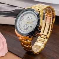 Luxury Mens Gold Stainless Steel Date Quartz Analog Wrist Watch White Dial CA #M