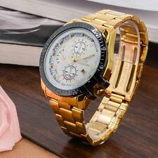 Luxury Mens Gold Stainless Steel Date Quartz Analog Wrist Watch White Dial CA #Q