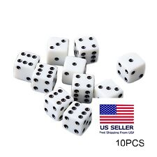 Set of 10 Six Sided Square Opaque 16mm D6 Dice - White with Black Pip Die.