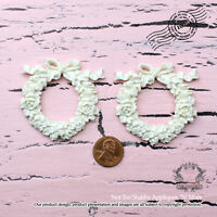 "Shabby Chic Furniture Appliques, ScrapBooking ""Roses with Vintage Bow Wreath"""