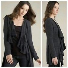 Eileen Fisher Open Front Gray Ruffle Cardigan Sweater Size Small Petite S/P