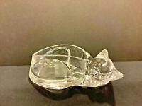 Vintage Clear Glass Sleeping Cat Trinket Bowl