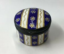 Antique French Enamel Patch Box Round Blue White & Gold 3cm In Height