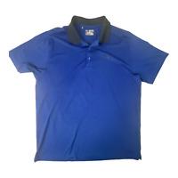 Under Armour Mens Heat Gear Blue Loose Short Sleeve Golf Polo 2XL