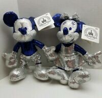 "60th Anniversary Sequin Mickey Mouse & Minnie 9"" Plush Dolls Disneyland Park"