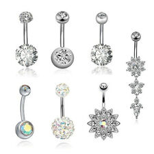 7Pcs/Set Stainless Steel Crystal Belly Button Rings Navel Body Jewelry Pierce Us