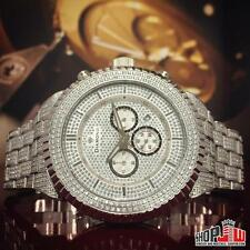 Custom Diamond Mens Fully Iced Out Simulated Lab Watch Big Face Steel Fluted Icy