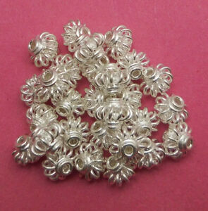 28 PCS 8X7MM  BALI FILIGREE SPACER BEAD STERLING SILVER PLATED 69 FUL-241