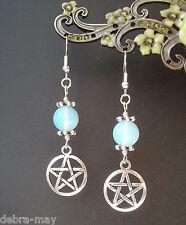 Beautiful Pentagram & Opalite Moon Wicca Pagan Goddess Earrings