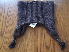 NWT BABY GAP FLEECE LINED BROWN SWEATER W/ GOLD WINTER HAT GIRL M / L  4-5 YRS