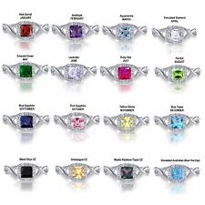 Princess Cut Promise Infinity Celtic Birthstone Sterling Silver Ring Size 4 - 12