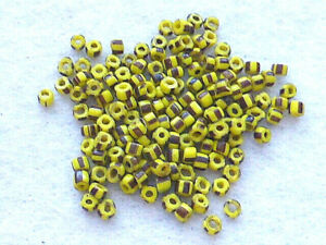 ANTIQUE 150  PCS  YELLOW W/ BLACK STRIPES MICRO GLASS TRADE  BEADS
