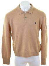 POLO RALPH LAUREN Mens Polo Neck Jumper Sweater 2XL Brown Lambswool  KS10