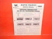 1968 CHARGER SUPER BEE BARRACUDA ROAD RUNNER BENDIX AM-FM RADIO SERVICE MANUAL