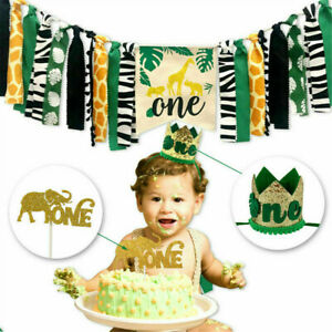 1st Birthday Jungle Animal Themed Highchair Banner Crown Party Decor Supplies