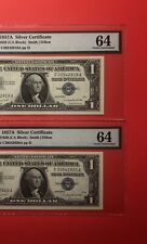1957A-2 CONSECUTIVE $1 SILVER CERTIFICATE NOTES,GRADED BY PMC CHOICE UNC 64.
