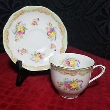 ROYAL ALBERT  TEA CUP & SAUCER INTRICATE  HAND PAINTED FLORAL, GOLD GILT