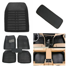 5 pcs Black Leather Universal Car Floor Mats Set Front & Rear Liner Waterproof