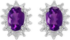 14k White Gold Oval Amethyst And Diamond Earrings (CM-E1342XW-02)