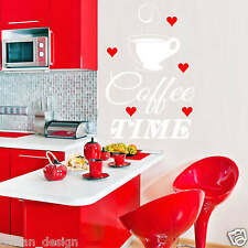 Coffee Time with cup and red hearts Wall Sticker transfer Decal (Art1)
